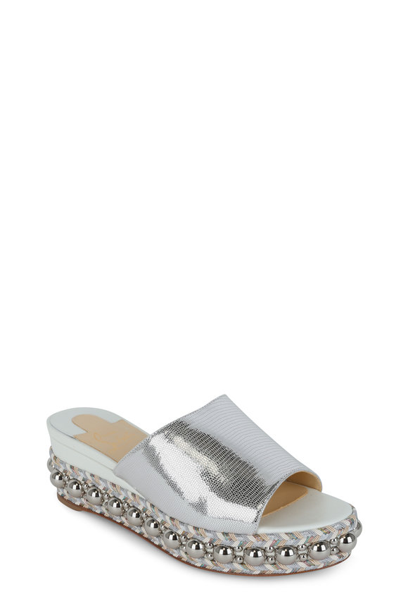 Christian Louboutin Janibasse Metallic Silver Wedge Slide, 60mm