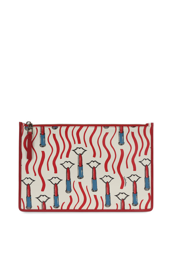 Valentino Garavani White & Red Lipstick Print Leather Large Pouch