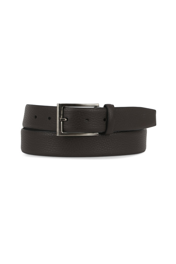 Ermenegildo Zegna Dark Brown Grained Leather Belt