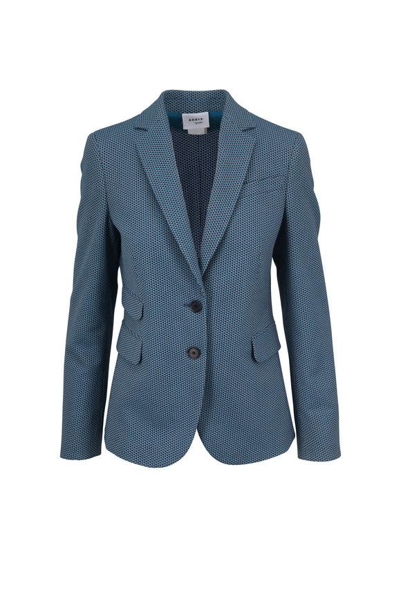 Akris Punto Turquoise Multicolor Stretch Cotton Blazer