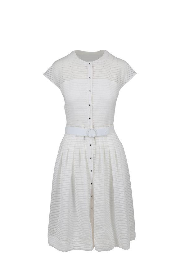 Akris Punto Cream Cap Sleeve Snap Front Dress