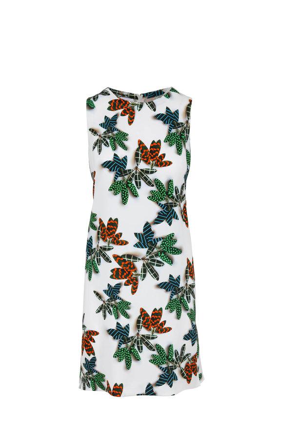 Akris Punto Cream Multi Palm Print Sleeveless Shift Dress
