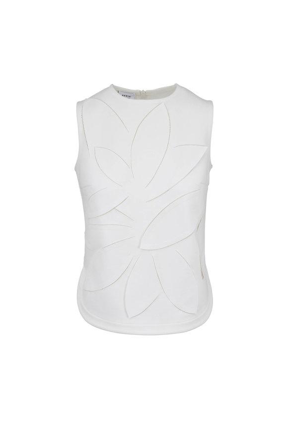 Akris Punto Ceam Jersey 3-D Leaf Detail Sleeveless Top