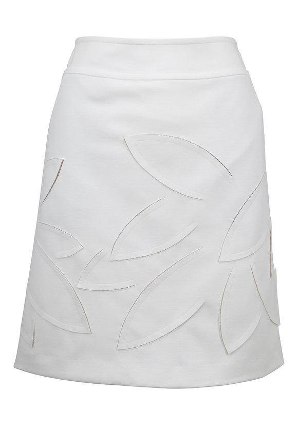 Akris Punto Cream Jersey 3-D Leaf Detail A-Line Skirt