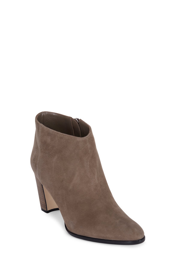 Manolo Blahnik Brusta Taupe Suede Ankle Boot, 70mm