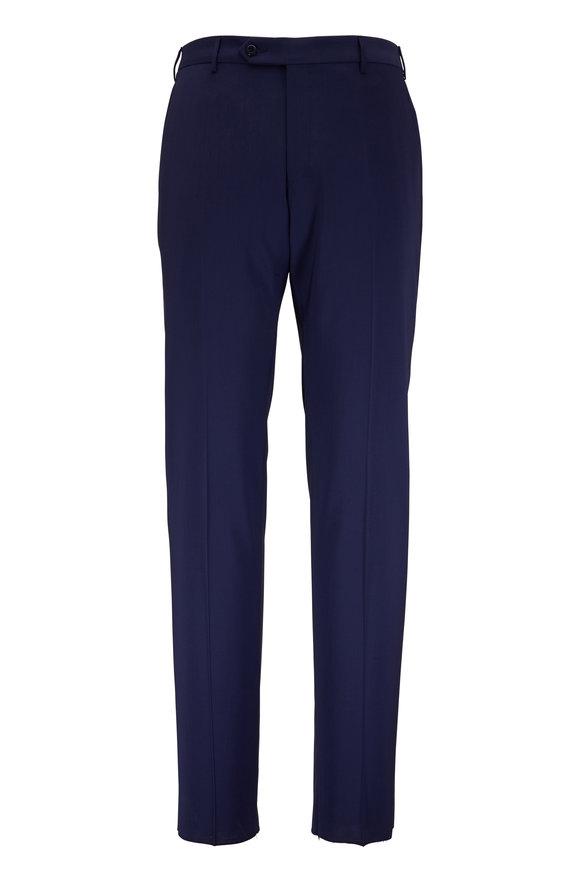 Zanella Parker Navy Blue Stretch Wool Pant