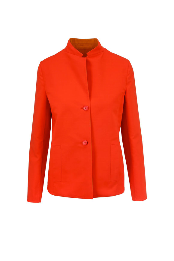 Akris Firecracker & Love Red Double-Faced Fitted Jacket