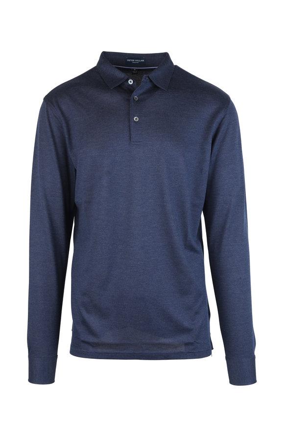 Peter Millar Navy Blue Silk Blend Long Sleeve Polo