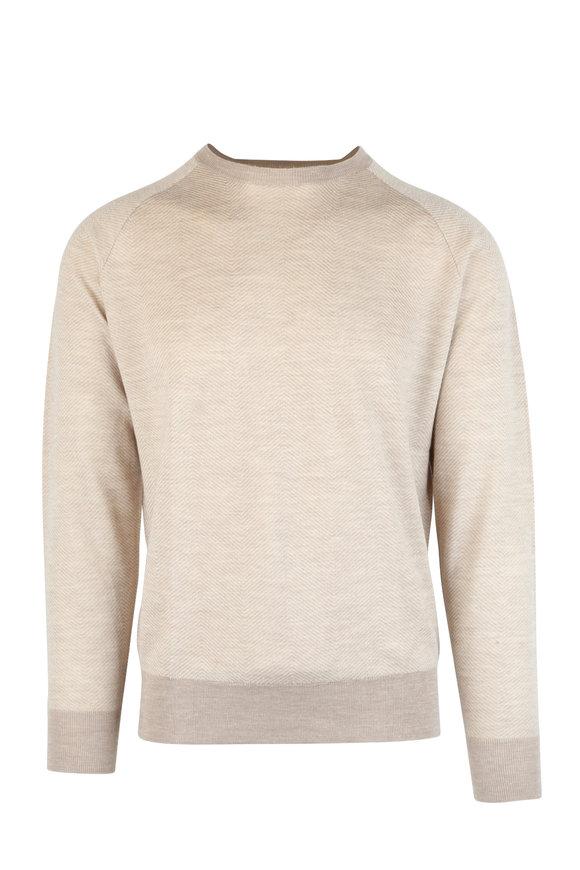 Peter Millar Tan Herringbone Cashmere, Silk & Hemp Sweater