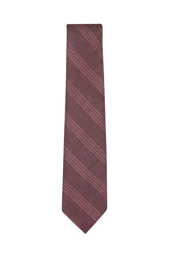 Isaia Burgundy Striped Necktie