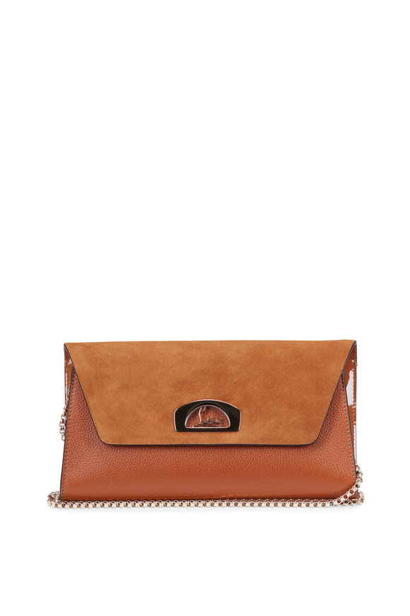 Christian Louboutin Vero Dodat Tan Suede & Leather Clutch
