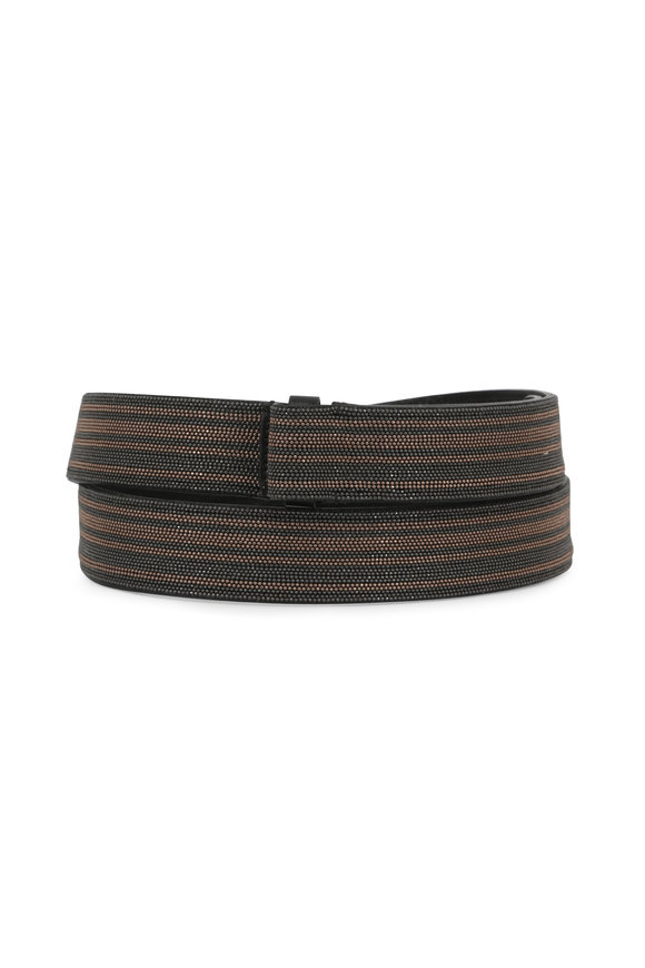 Brunello Cucinelli Ultra Black & Gold Monili Striped Belt