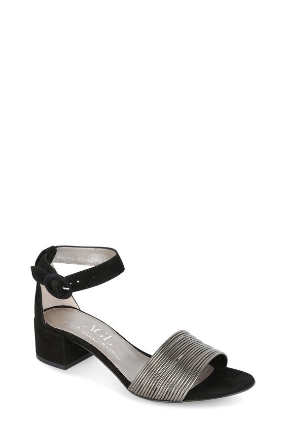 AGL Gunmetal & Black Suede Ankle Strap Sandal, 50mm