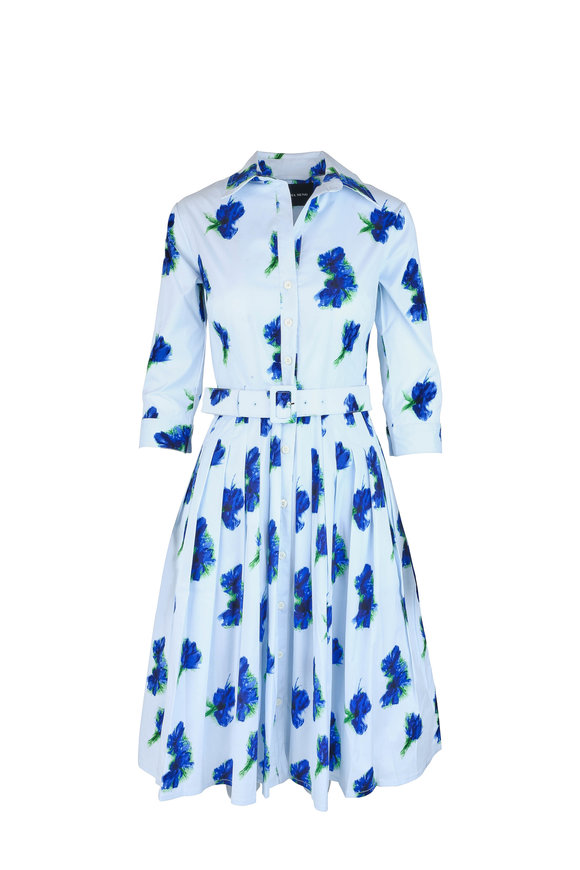 Samantha Sung Audrey Light Blue Floral Shirt Dress