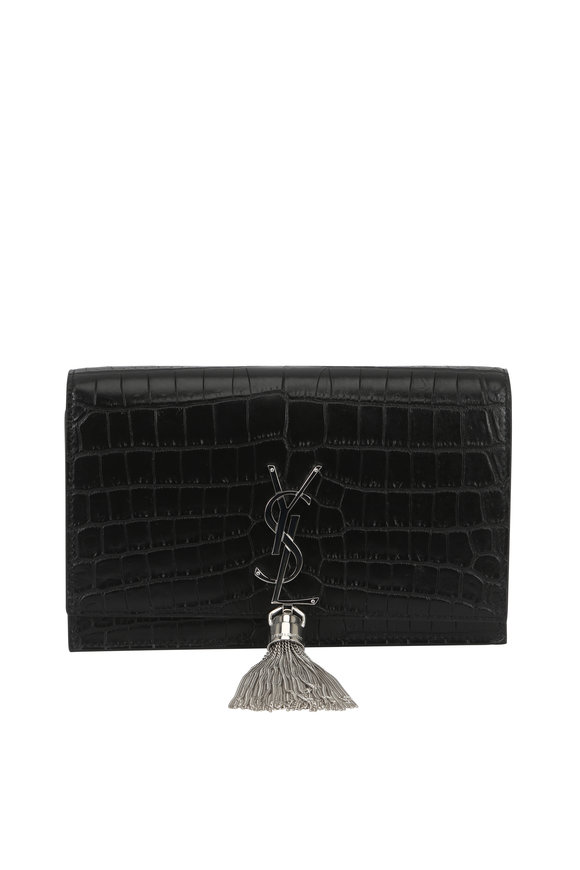 Saint Laurent Kate Black Crocodile Embossed Chain Wallet
