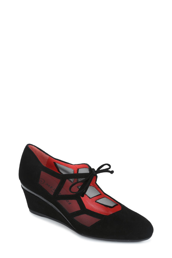 Pas de Rouge Black Suede & Mesh Wedge Heel, 50mm