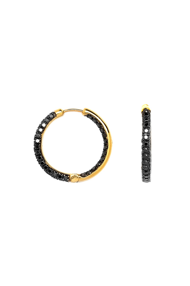 Yellow Gold Black Diamond Hoop Earrings