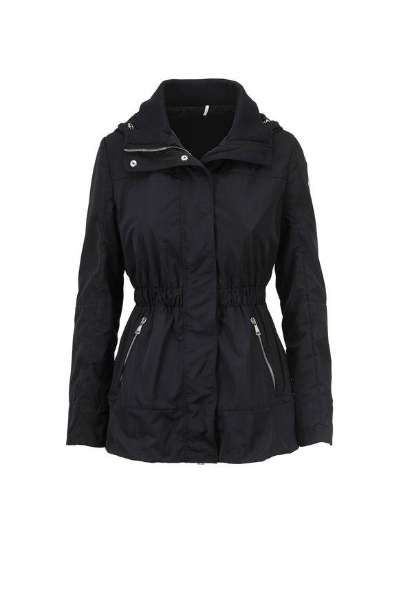 Moncler Black Cinched Waist Hooded Jacket