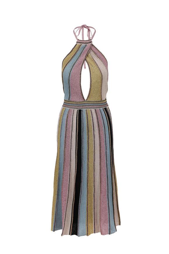 M Missoni Multicolor Knit Halter Dress