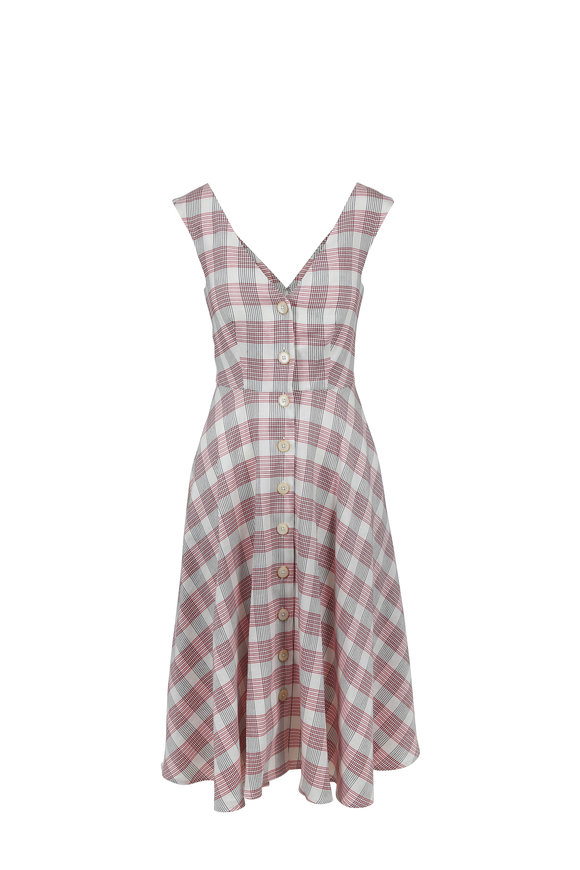 Veronica Beard Finn Red & White Plaid A-Line Dress