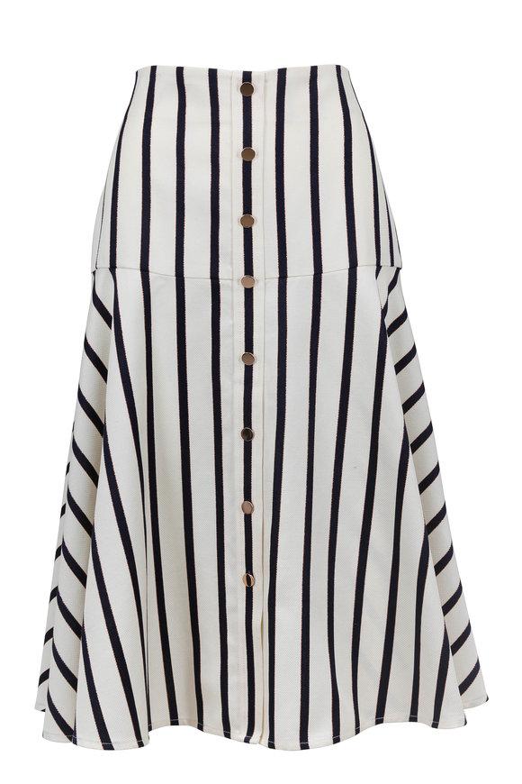 Veronica Beard Elena White & Navy Striped Skirt