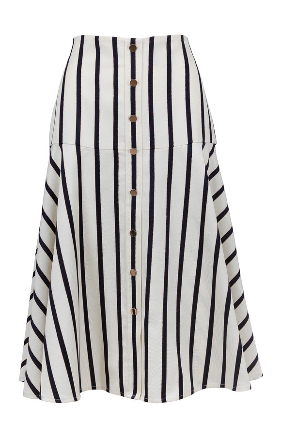 Veronica Beard Elena White & Navy Striped Skirt