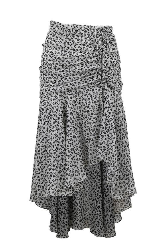Veronica Beard Sevilla Black & Off-White Silk Floral Print Skirt
