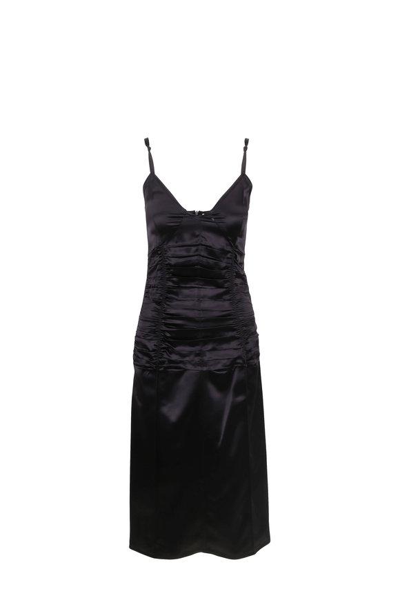 Helmut Lang Black Ruched Slip Dress