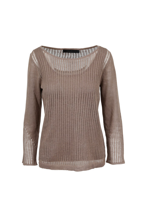 Raffi  Mocha Linen Pointelle Double Layer Sweater