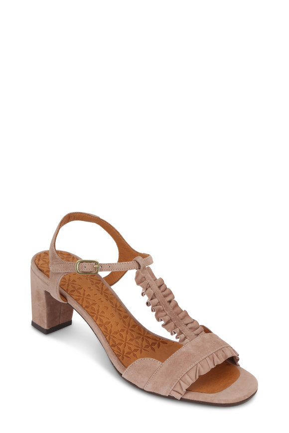 Chie Mihara Nude Suede Ruffled T-Strap Sandal, 50mm