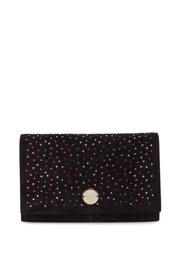 Jimmy Choo Florence Black Suede Multicolor Crystal Clutch