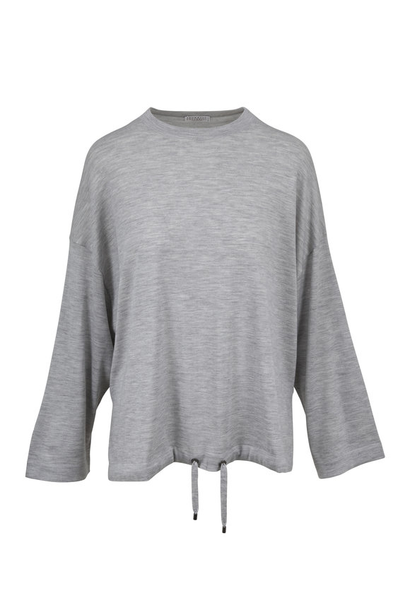 Brunello Cucinelli Pebble Cashmere & Silk Swing Drawstring Sweater