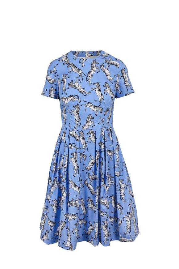 Carolina Herrera Cornflower Zebra Print Short Sleeve Dress