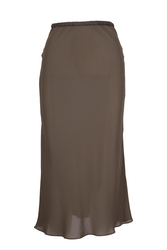 Peter Cohen Dark Olive Green Bias Cut Skirt