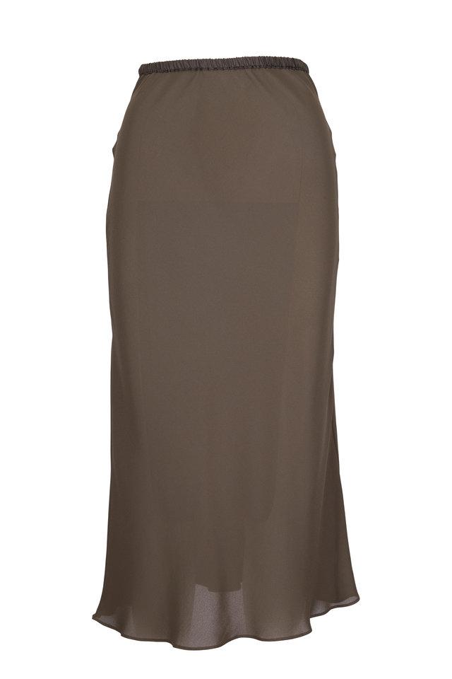 Dark Olive Green Bias Cut Skirt