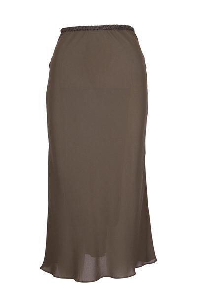 Peter Cohen - Dark Olive Green Bias Cut Skirt