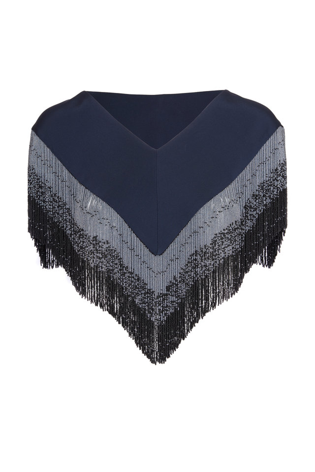 Navy Beaded V-Neck Stole