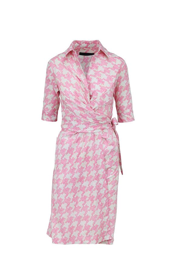 Samantha Sung Hepburn Rose Pablo Houndstooth Elbow Sleeve Dress