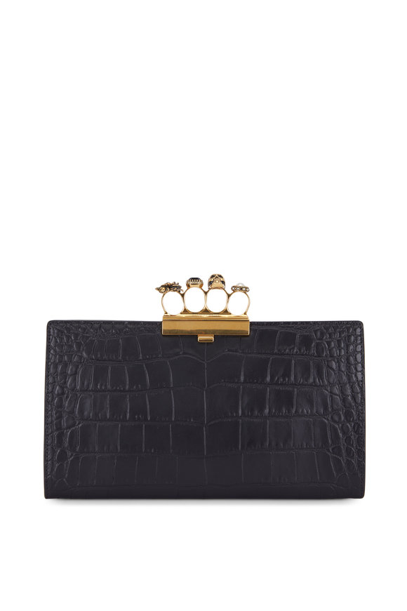Alexander McQueen Black Crocodile Embossed Slim Knuckle Clutch