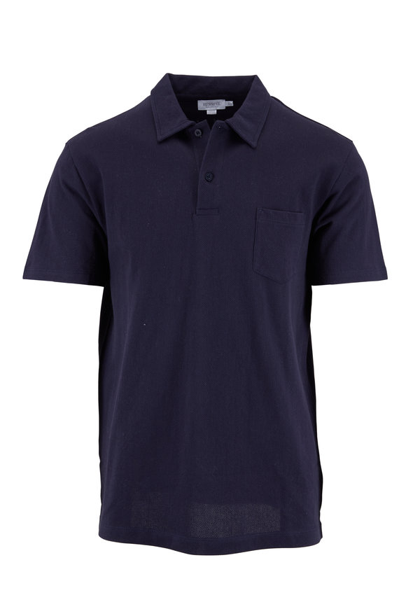 Sunspel Riviera Navy Blue Textured Polo