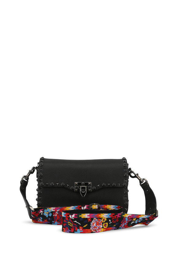 Valentino Rolling Rockstud Black Leather Flap Shoulder Bag