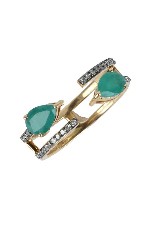Kai Linz 18K Rose Gold Emerald & Diamond Open Ring