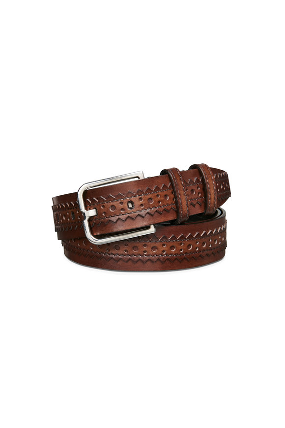 Berluti Dark Brown Brogue Essence Leather Belt