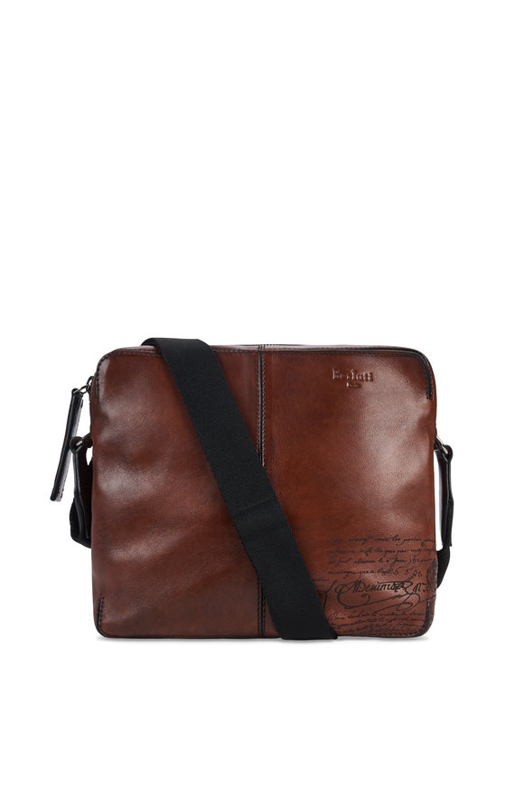Berluti Monolithe MM Brown Polished Leather Messenger