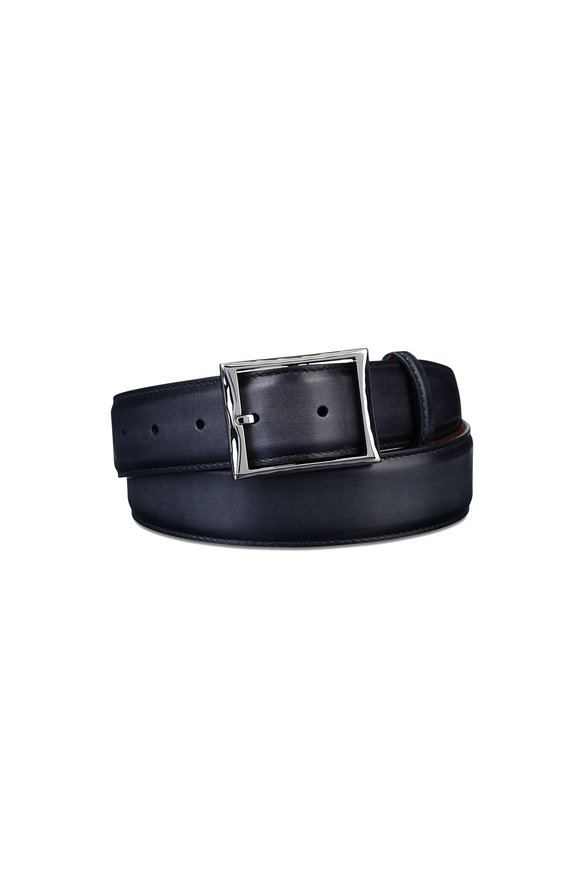 Berluti Black Classic Leather Belt