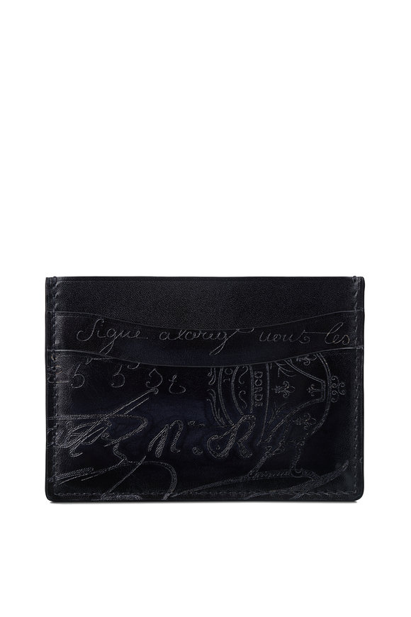 Berluti Bambou Nero Scritto Leather Card Holder
