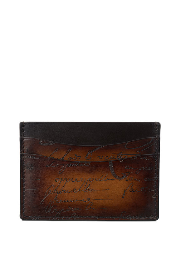 Berluti Bambou Tobacco Bis Scritto Leather Card Holder