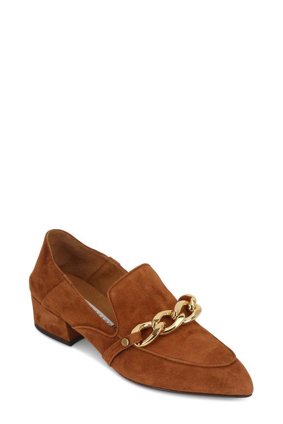 Veronica Beard Jaxon Cognac Suede Chain Convertible Loafer, 35mm