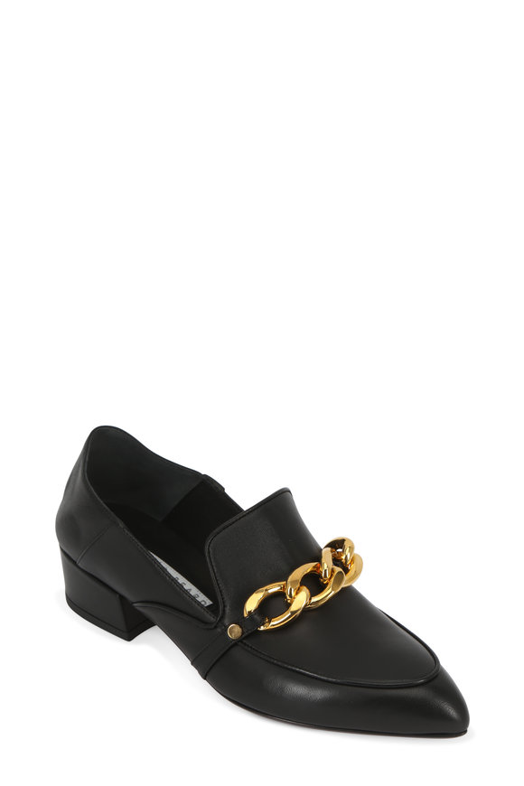 Veronica Beard Jaxon Black Leather Chain Convertible Loafer, 35mm
