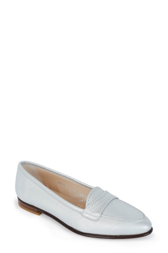 Gravati Silver Leather Penny Loafer